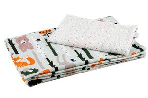 100 x135 cm Babybettwäsche Kinderbettwäsche Bettwäsche Bettset Baby 2 tlg mit Reißverschluss Wald