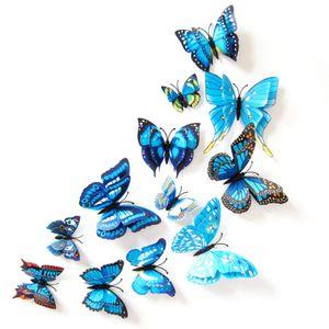 Oblique Unique 3D Schmetterlinge 12er Set Wandtattoo Wandsticker Wanddeko - blau