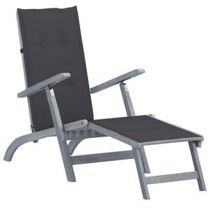 Eleganter- Liegestuhl,Sonnenliege| Freizeitliege,Relaxliege,Garten-Loungestuhl mit Fußstütze und Auflage Massivholz Akazie🌴8130