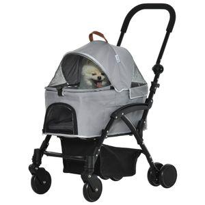 PawHut 2-in-1 Hundebuggy Transporttasche Katzenbuggy mit Universal Rad abnehmbar Abdeckung Oxford Grau+Schwarz 76,5 x 48 x 99 cm