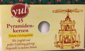 1 Packung  45 Stk  Pyramidenkerzen Yul weiss 74 x 14 mm