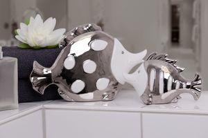 Casablanca Fisch Fin Atlantik weiß silber Porzellan Bad Deko Figur Skulptur  76747 - klein