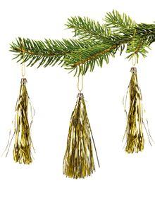 10 Lamettini Gold Lametta Anhänger Weihnachtsanhänger