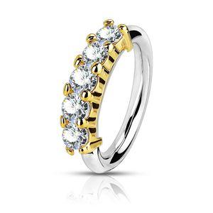 viva-adorno Nasenring Nasenpiercing Piercing Hoop Ring Kristalle Tragus Helix Cartilage Ohrpiercing Z523,gold 0,8mm
