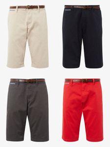 TOM TAILOR HERREN JOSH REGULAR SLIM CHINO SHORTS MIT GÜRTEL, Farbe:Grau, Shorts:W33