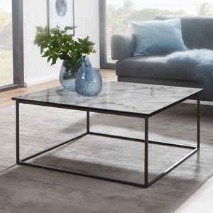 FineBuy Couchtisch Quadratisch 80x38x80 cm mit Marmor Optik Weiß | Wohnzimmertisch mit Metall-Gestell Schwarz | Moderner Dekotisch