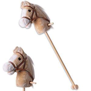 Steckenpferd Reittier Stockpferd Laufpferd Pferdekopf Beige Rollen Holz 96cm