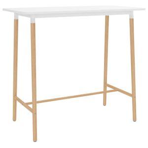 Bartisch Weiß 120x60x105 cm MDF & Massivholz Buche