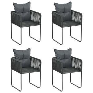 vidaXL Gartenstühle 4 Stk. mit Kissen Poly Rattan Schwarz
