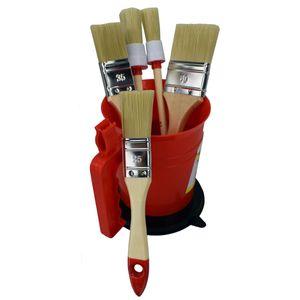 Pinsel Set im Topf 6tlg. Malerset Flachpinsel Rundpinsel Farbbecher mit Deckel