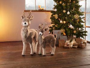 Rentier, groß Weihnachten Xmas, Weihnachtsdeko, Rentier, harmonische Naturtöne