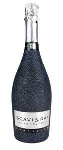 Scavi & Ray Alkoholfrei Sparkling 0,75l (<0,03% Vol) Bling Bling Glitzerflasche in schwarz -[Enthält Sulfite]