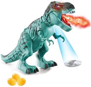 Elektrisch Dinosaurier Spielzeug Kinder, Tyrannosaurus Rex Spielzeug mit Dinosaurier-Ei und Brüllendem Dinosaurier-Sound, Realistisches Dinosaurier Spielzeug für 2, 3, 4, 5, 6, 7 Jahre Junge(Blau)