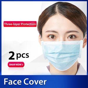 2 Stück Medizinische Einwegmaske Vliesmasken 3-lagige bequeme Hygienemaske Anti-Staub Mund Gesicht Fask Staubpollen Allergien Filter für Grippe Saison Dailywear Blau