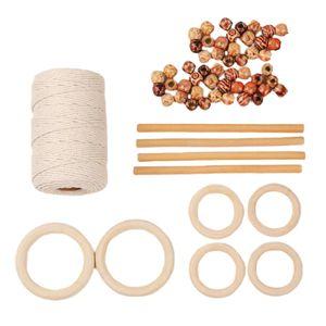 1 Kit Natural Macrame Cord mit Holzring und Holzperlen Set Style1 Holz Zubehör Natürliches Makramee-Kabel