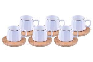 Cebeci Espressotassen Set mit Bambusunterteller » 12 teiliges Mokka Service für 6 Person « Porzellan