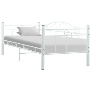 vidaXL Tagesbett-Rahmen Weiß Metall 90×200 cm