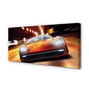 Leinwandbild 120x60 Wandkunst Sportwagen Lichter der Stadt