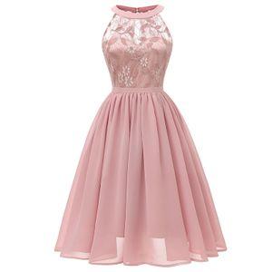 Frauen aermelloses Kleid Kleid Spitze Chiffon Ausschnitt A-Line Abend Cocktail Party Abendkleid,M