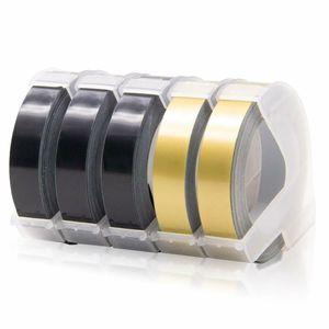 UniPlus Kompatibel 3D Prägeband als Ersatz für Dymo 3D Kunststoff Prägebändern 9mm x 3m für Dymo Omega Junior Home Etikettenhersteller, 3x Weiß auf Schwarz, 2x Weiß auf Gold