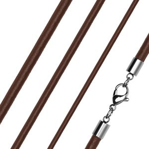 Lederkette Halskette Lederband Kette Echtleder Rindsleder Karabiner Edelstahl Kette für Anhänger  2 mm 50 mm