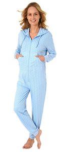 Damen Schlafanzug Einteiler Jumpsuit langarm in toller Tupfenoptik - 281 267 90 130, Farbe:hellblau, Größe:40/42