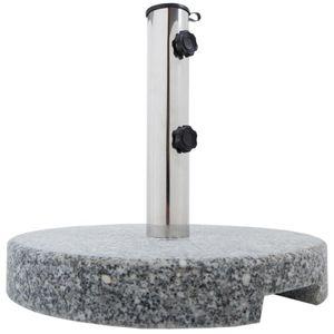 Sonnenschirmständer, Schirmständer für Garten oder Balkon aus Granit und Edelstahl, 20 kg rund mit Griffmulden