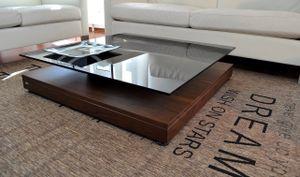Design Couchtisch Tisch V-570 Nussbaum / Walnuss getöntes Glas Carl Svensson
