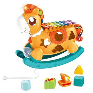 Baby Xylophon Spielzeug,5 in 1 Pony Musical Instrument Baby Spielzeug,Kinderspielzeug mit Bausteinen