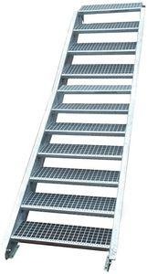 Stahltreppe verzinkt 11 Stufen Geschosshöhe 165-220cm / Stufenmaße 100 cm x 24 cm