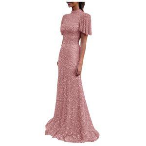 Frauen elegante Party y Hochzeitskleid Rüschenärmel rückenfrei langes schlankes Kleid Größe:S,Farbe:Rosa