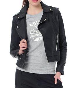 adidas Biker-Jacke lässige Woll-Jacke für Frauen mit Schulterklappen im Militär-Style Schwarz, Größe:32