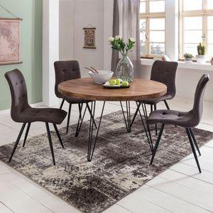 WOHNLING Design Esszimmertisch BAGLI rund Ø 120 x 78 cm Sheesham Massiv-Holz | Landhaus Esstisch braun | Tisch für Esszimmer Küchentisch 4 Personen