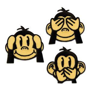Set drei Affen - Aufnäher, Bügelbild, Aufbügler, Applikationen, Patches, Flicken, zum aufbügeln, Größe: ca. 3,5 x 3,5 cm