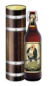 Alles Gute zum Geburtstag - 1 Liter Flasche Bier mit Bügelverschluss (mit Geschenkdose im Holzdesign)