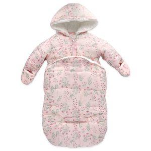Baby Mädchen 2-in-1 Snowbag Fußsack Jacke Winter Blumen rosa 62 (0-3 Monate)