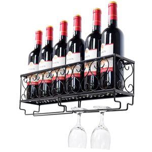 COSTWAY Weinregal mit Weinglashalter Flaschenregal Flaschenstaender Haengeweinregal Wandregal Weinflaschenhalter Nachbildungegal Metall