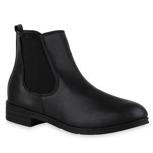 Mytrendshoe Damen Stiefeletten Chelsea Boots Blockabsatz Schlupf-Schuhe 835924, Farbe: Schwarz, Größe: 39