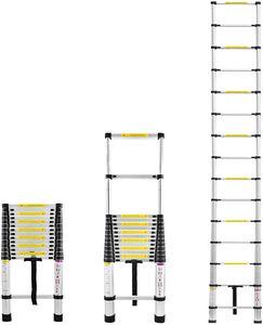 LARS360 440cm Alu-Teleskopleiter Multifunktion Anlegeleiter Mehrzweckleiter 15 Sprossen Gefaltete Höhe 94cm Hochwertigem Aluleiter 150 kg Belastbarkeit(Silber)