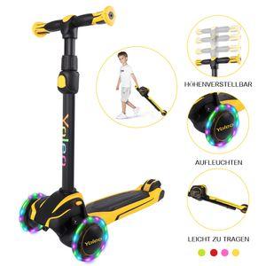 Yoleo Kinderscooter, kinder roller mit LED Leuchtenden Räder, Dreiradscooter 4 Höhenverstellbare für Jungen & Mädchen im Alter von 3-12 Jahren, bis 50kg blasbar, Gelb