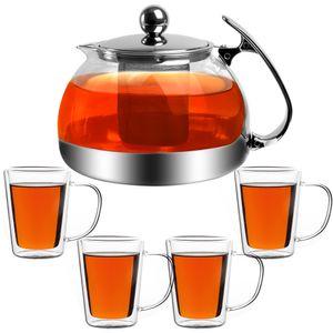Monzana Teekanne Glas 1,2L 4er Set Teegläser herausnehmbarem Sieb aus Edelstahl