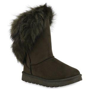 Mytrendshoe Damen Stiefeletten Schlupfstiefel Warm Gefütterte Winter Boots 824177, Farbe: Dunkelgrün, Größe: 39