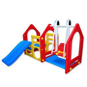 Wetterfestes Spielhaus mit Rutsche & Schaukel für Kinderzimmer & Garten L/B/H: ca. 135x155x102 cm