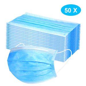 50X Atemschutzmasken Masken, 3 Lagig Maske Hygienemaske Staubschutz Mund Gesichtsmaske Blau