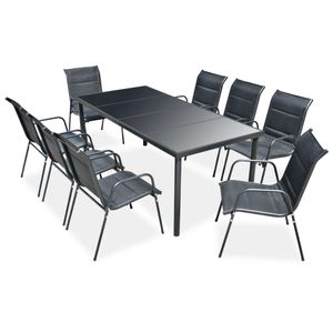 Gartenmöbel Essgruppe 8 Personen ,9-TLG. Terrassenmöbel Balkonset Sitzgruppe: Tisch mit 8 Stühle Stahl Schwarz❀5960