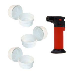 ToCi Creme Brulee Set 7-teilig | 6 weiße Creme Brulee Förmchen 11 cm | 1x Flambiergerät | Schälchen für Ragout Fin | Pastetenform aus Keramik | auch für Schoko-Souffle