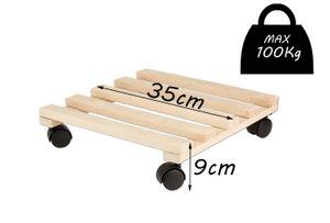 2er Set Pflanzenroller für den Außenbereich Holz Blumenroller Pflanzenuntersetzer mit Rollen
