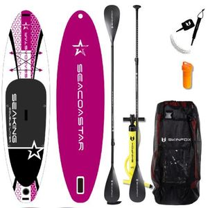 SEACOASTAR SEAKING CARBON-SET (325x80x15) Double-Layer SUP Paddelboard pink - Farbe: Pink - Groesse: Board,Bag,Pumpe,CARBON-Paddle,Leash