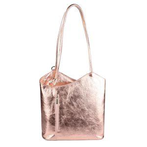 OBC  Italy Echt LEDER METALLIC DAMEN TASCHE RUCKSACK Handtasche Umhängetasche Schultertasche Shopper Henkeltasche Rosa-Metallic