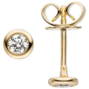 JOBO Ohrstecker 585 Gold Gelbgold 2 Diamanten Brillanten Ohrringe Diamantohrstecker